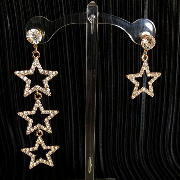 Vintage Jewelry - Rhinestone star shaped stud drop earrings in gold